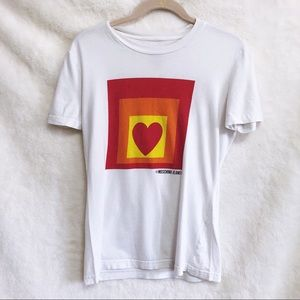 Moschino Jeans White Heart Squared T-Shirt